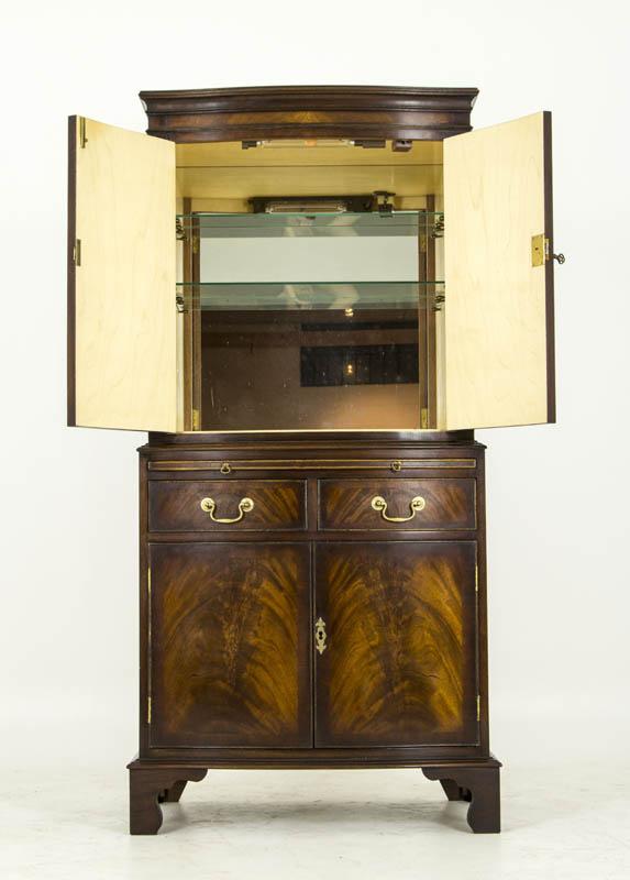 B458 Antique Serpentine Mahogany Dry Bar Cocktail Cabinet