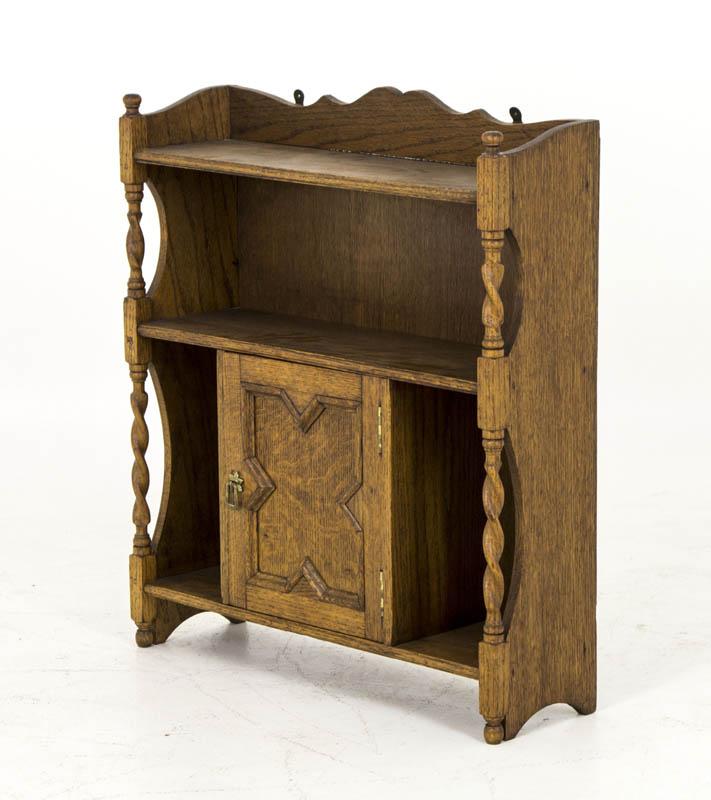 B412 Antique Tiger Oak Barley Twist Hanging Wall Cabinet Medicine Trinket