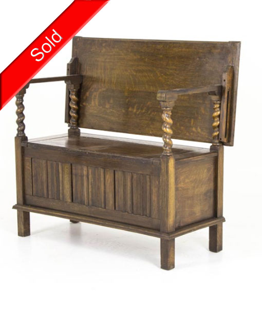 Swell B426 Oak Barley Twist Linen Fold Hall Monks Bench Foyer Bench Machost Co Dining Chair Design Ideas Machostcouk
