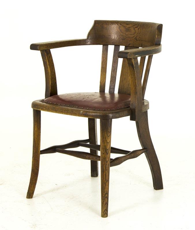 B455 Antique Oak Arm Chair, Lawyer, Court Room, Office ...