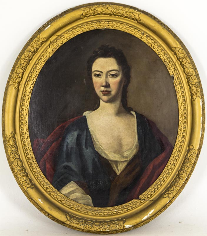 B640a 18th Century Portrait Of A Young Woman In Oval Frame English School Heatherbrae Antiques