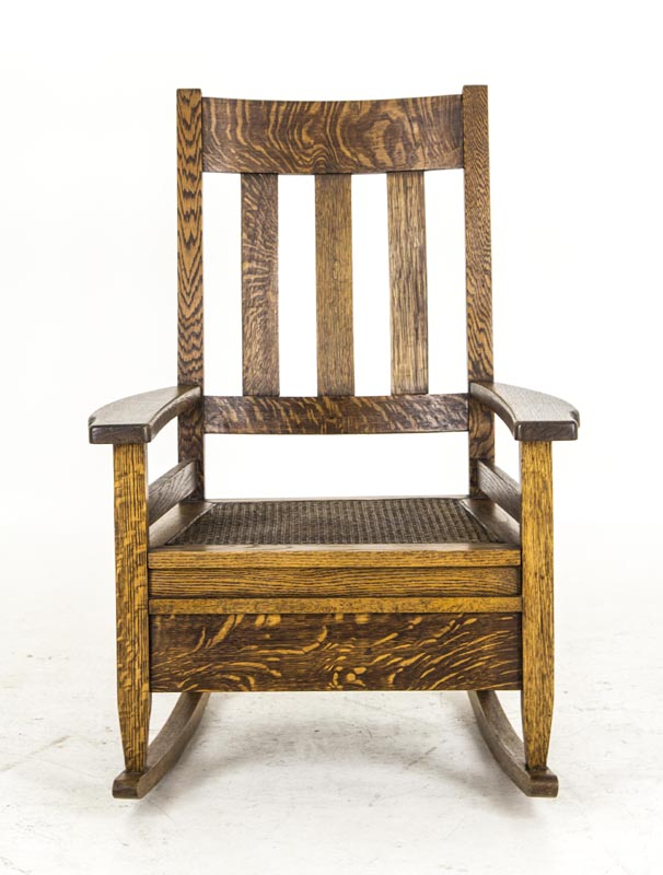 Outstanding Vintage Arts And Crafts Rocking Chair Mission Oak Rocking Chair In Tiger Oak B644 Machost Co Dining Chair Design Ideas Machostcouk