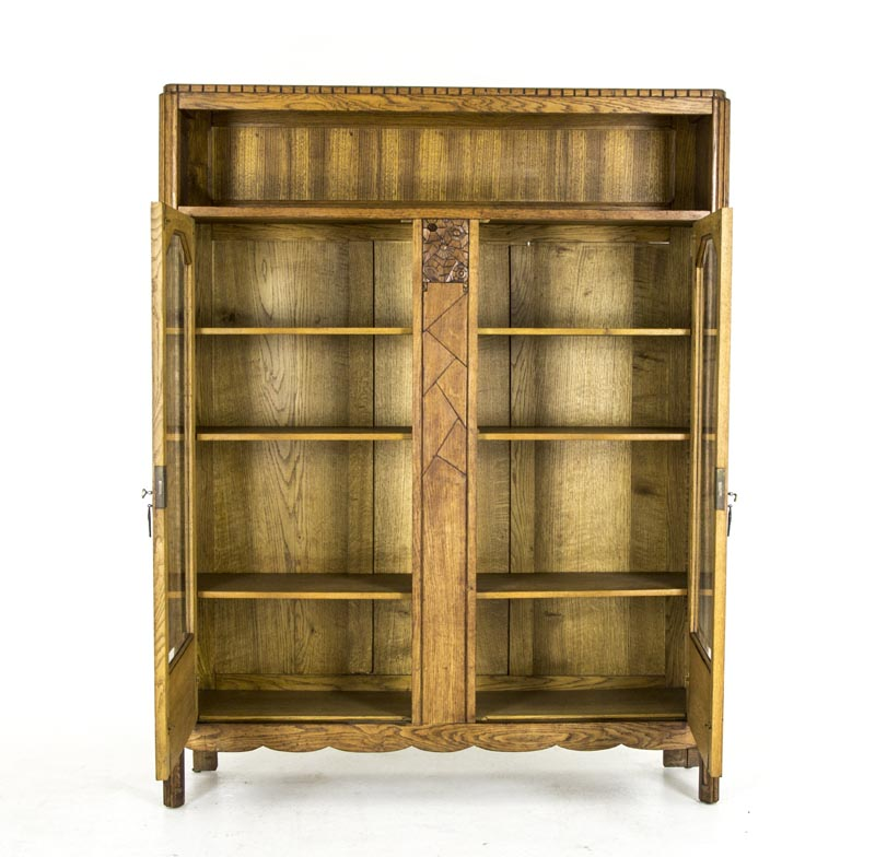 B446 Antique Scottish Art Deco 2 Door Bookcase Display