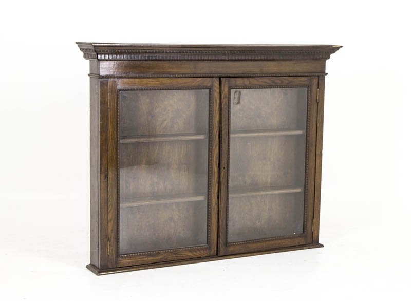 B492a Oak Gl Fronted Display Cabinet Hanging Wall Collectors
