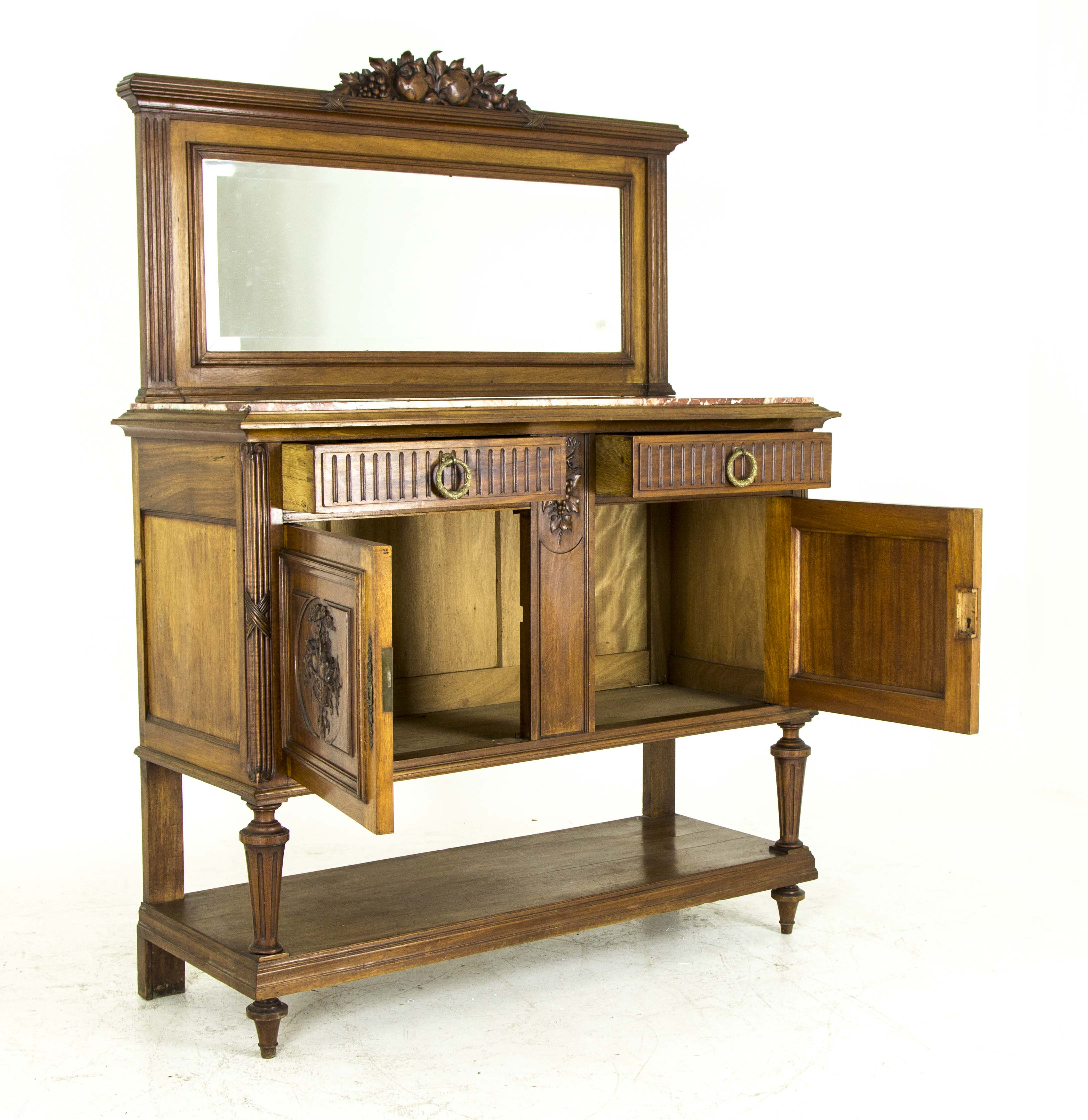 B566 Antique French Walnut Marble Top Sideboard Credenza