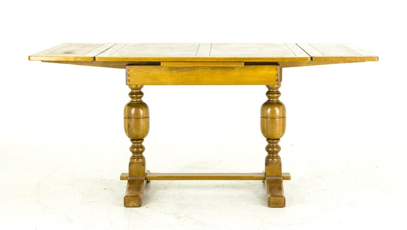 B675 Antique Scottish Oak Refectory Table Draw Leaf Table