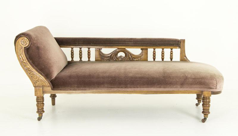 Antique Walnut Sofa Chaise Lounger