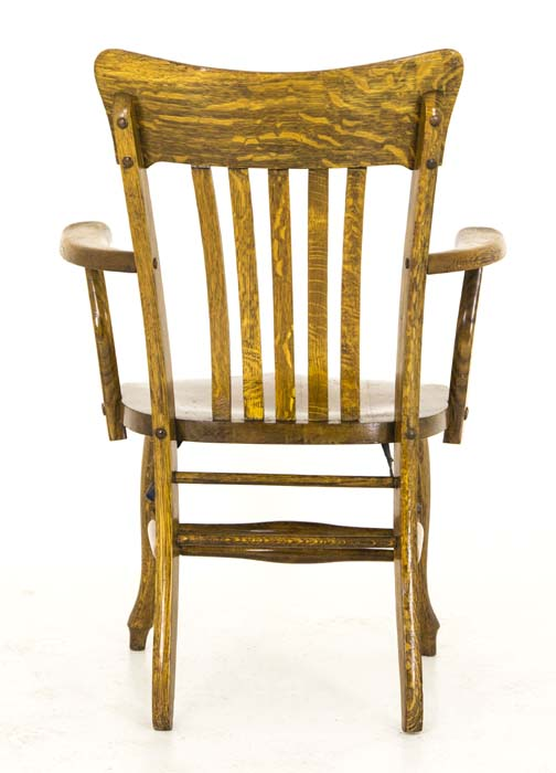 Antique Wooden Bankers Chair Mission Tiger Oak America