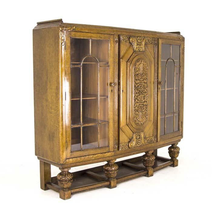 Art Deco Cabinet English Three Door Bookcase Golden Oak Cabinet B708