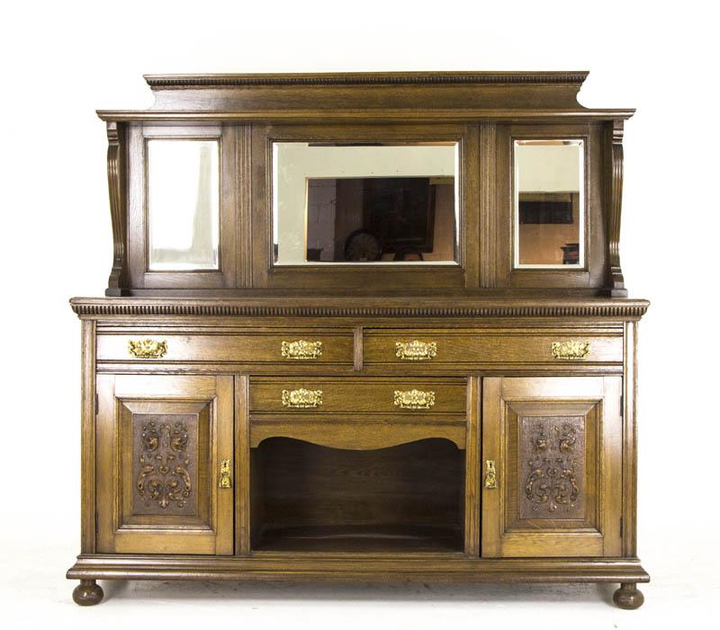Antique Oak Sideboard Victorian Oak Buffet Mirror Back
