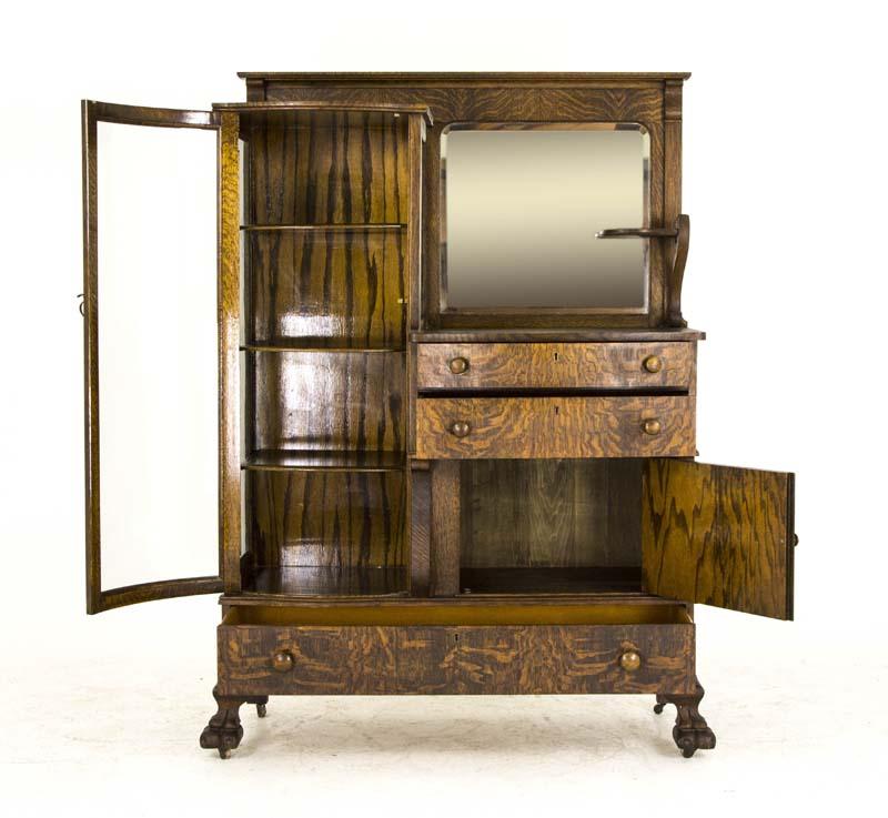 Curio Cabinet Antique Cabinet Buffet Cabinet Tiger