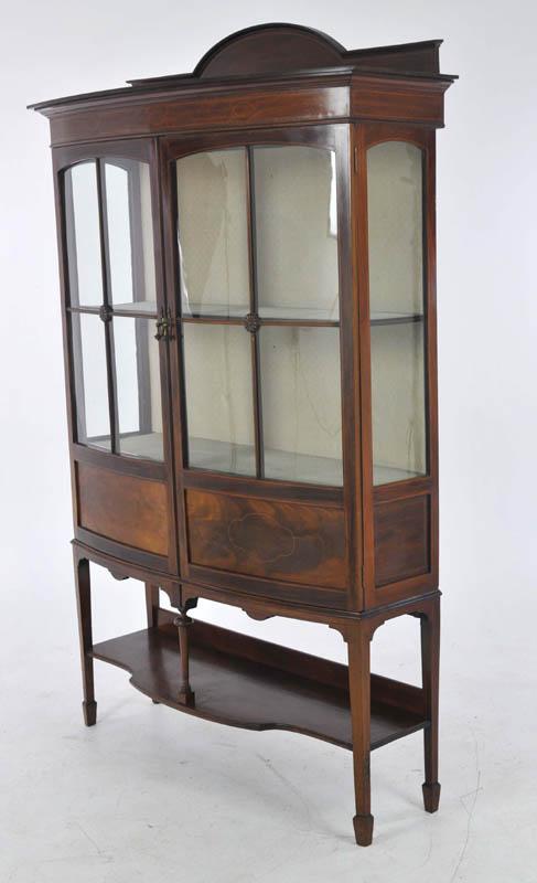 Antique China Cabinet Inlaid Mahogany Bow Front Scotland 1910 B993