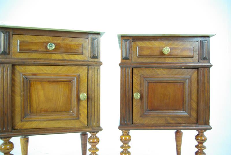 Antique Walnut Nightstands, Walnut Bedsides, Marble Top