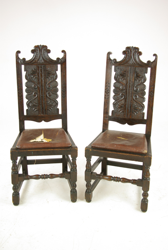 Carved Oak Side Chairs Pair Hall