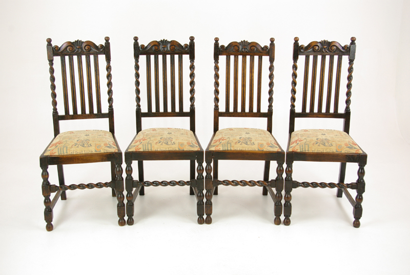 Antique Dining Chairs >> 4 Antique Dining Chairs Barley Twist Oak Dining Chairs B1360